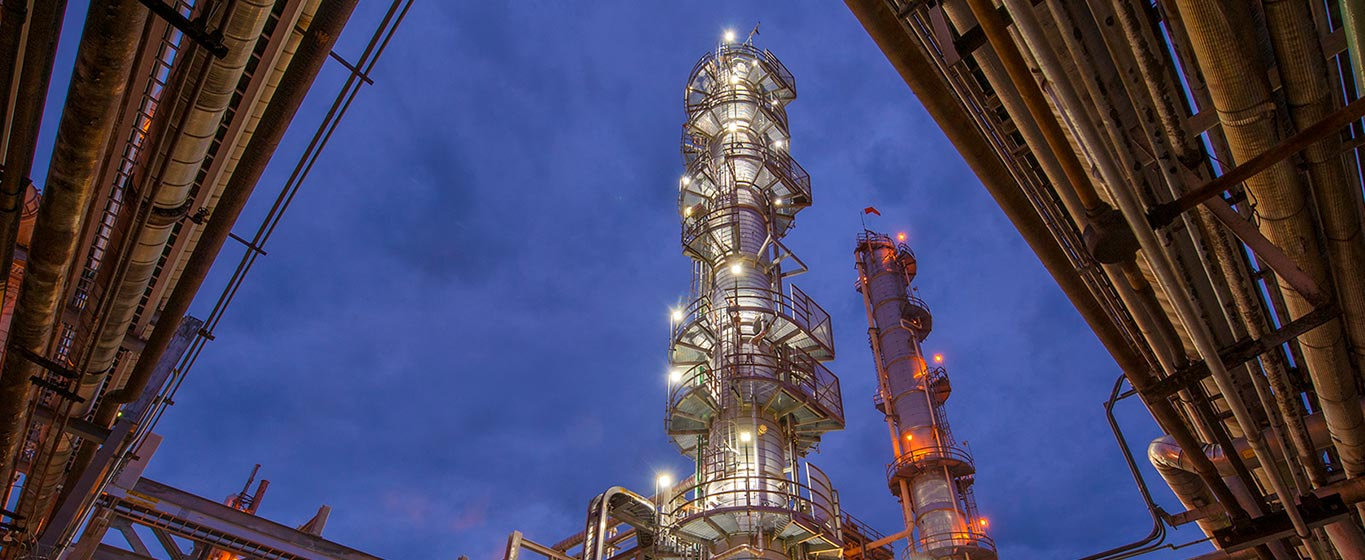 Up close shot of Canton, OH refinery at night