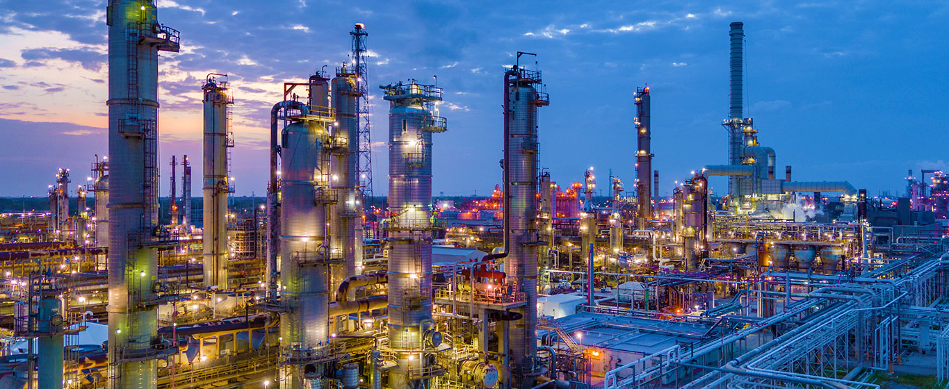 A dusk shot of the Galveston Bay Refinery